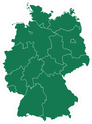 Green Map Of Germany Sticker
