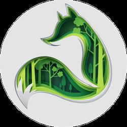 Green Paper Art Fox Forest Sticker