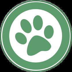 Green Paw Print Circle Sticker