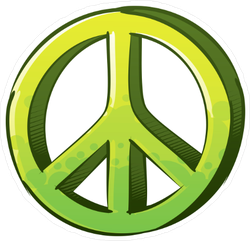 Green Peace Sign Drawing Sticker