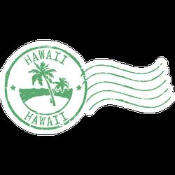 Green Postal Grunge Stamp ''hawaii' Sticker