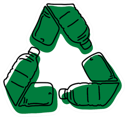Green Recycle Logo Made Of Used Bottles Illustration Sticker