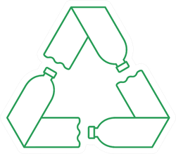 Green Recycle Symbol With Three Plastic Bottles Illustration Sticker