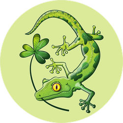 Green Spotted Gecko With A Clover In His Mouth Sticker