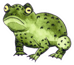 Green Ugly Frog With Round Yellow Eyes Sticker