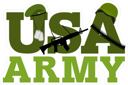 Green US Army And Gear Sticker