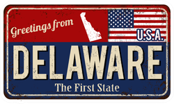 Greetings From Delaware Metal Sign Sticker