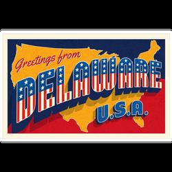 Greetings From Delaware Usa Retro Sticker