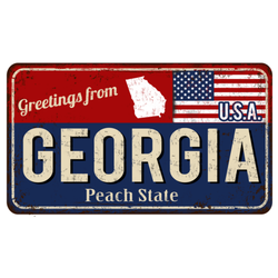 Greetings From Georgia Peach State Vintage Sign Sticker