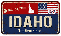 Greetings From Idaho Metal Sign Sticker