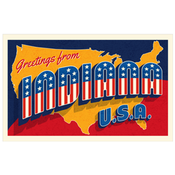 Greetings From Indiana Usa Retro Postcard Sticker