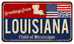Greetings From Louisiana Metal Sign Sticker
