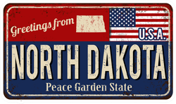 Greetings From North Dakota Metal Sign Sticker