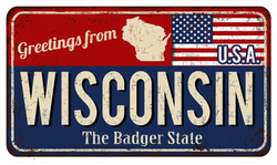 Greetings From Wisconsin Metal Sign Sticker
