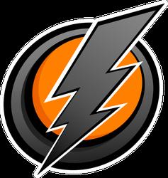 Grey and Orange Lightning Bolt Sticker