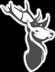 Grey and White Deer Head Sticker