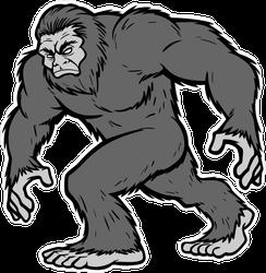 Grey Bigfoot Mascot Sticker