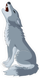 Grey Wolf Howling Sticker