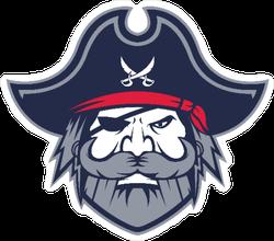 Greybeard Pirate Head Mascot Sticker
