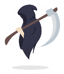 Grim Reaper Holding Scythe Collecting Souls Sticker