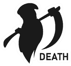 Grim Reaper Holding Scythe With Death Text Sticker
