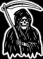 Grim Reaper With Scythe Black Sticker