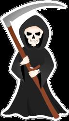 Grim Reaper With Scythe Halloween Skeleton Sticker