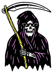 Grim Reaper With Scythe In Color Sticker