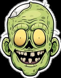 Grinning Cartoon Zombie Face Sticker