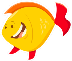 Grinning Yellow Fish Sticker