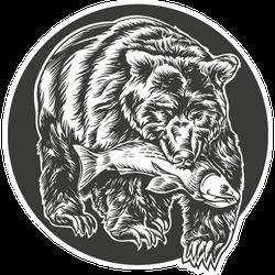 Grizzly Bear Holding Fish In Teeth Alaskan Illustration Sticker