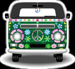 Groovy Green Hippie Van Sticker