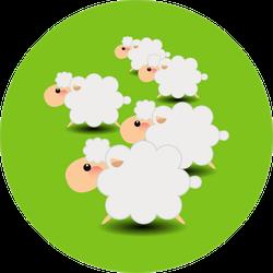 Group Of Sheeps Cartoon On Green Sticker