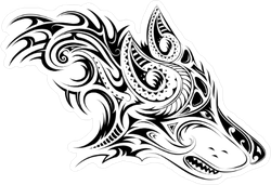 Growling Tribal Wolf Head Sticker