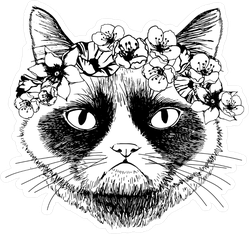 Grumpy Cat With Circlet Of Flowers Sticker