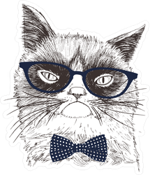 Grumpy Cat With Glasses And Bow Tie Sticker