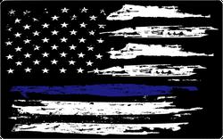 Grunge Blue Line Flag White Sticker