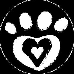 Grunge Dog Paw With Heart Circle Sticker