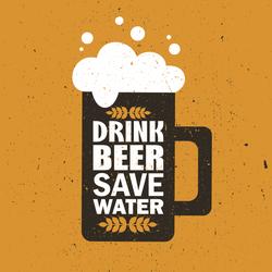 Grunge Drink Beer Save Water Sticker