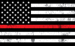 Grunge Fire Department Thin Red Line USA Flag