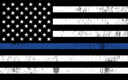 Grunge Law Enforcement Thin Blue Line USA Flag