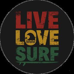 Grunge Live Love Surf Sticker