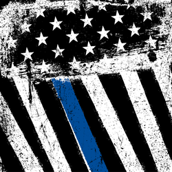 Grunge Patriotic American Flag With Thin Blue Line Sticker