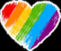 Grunge Rainbow Heart Sticker