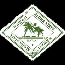 Grunge Rubber Stamp Diamond Hawaii Sticker