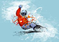 Grunge Sketch Snowboarder Sticker