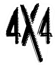 Grunge Tire Track 4x4 Letters Sticker