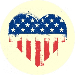 Grungy Painted American Flag Heart Sticker