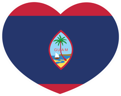 Guam Flag In A Heart Sticker