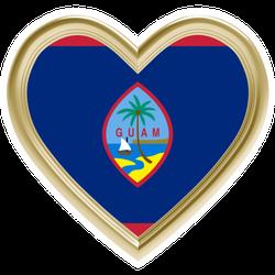 Guam Flag In Golden Heart Sticker